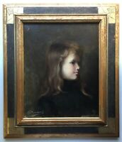 19thC FRENCH IMPRESSIONISM PAIINTING Girl Portrait oil on canvas signed