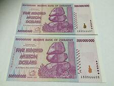 2 x Zimbabwe 500 MILLION Dollar Notes AB/2008 Consecutive Numbers UNC *BARGAIN*