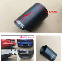 """76mm / 3"""" Carbon Fiber Exhaust muffler tip Cover Matte Shell Straight 1pcs"""