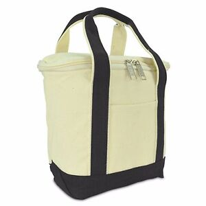 """DALIX 9.5"""" Insulated Leakproof Canvas Cooler Lunch Bag Tote Cooler Picnic Bag"""