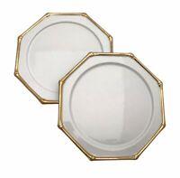 2 Bambous D'or Georges Briard Porcelain Salad Plates Gold Trim