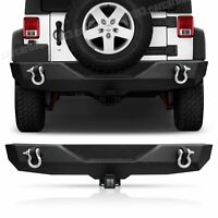 Rock Crawler Rear Bumper Winch Plate LED +D-Ring Fit 07-18 Jeep Wrangler JK JKU