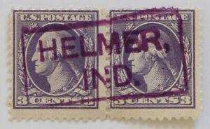 Helmer, Indiana SOTN Box Cancel on Pair of 3c Washington 1918 Scott #530 DPO