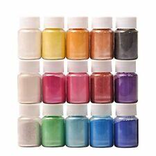 Pigmenti Resina DEWEL Mica Powder 10g*15 Colori Pigmenti in Polvere per Slime, R