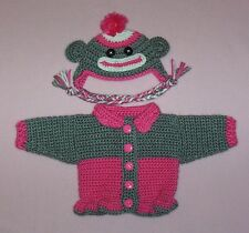 American Girl Doll HPink Sock Monkey Sweater Hat Fits Bitty Baby/Berenguer 15-17