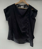 QUEEN CHRISTINE BOYLE amazing Side Button Linen Top Blouse Size 14 12