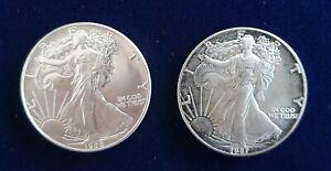 2 Stück USA - One Silber-Dollar 1988, 1987 1 Unze Fein