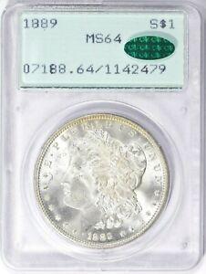 1889 P PCGS + CAC MS64 Rattler Morgan Silver Dollar GEM BU OGH Lustrous Flashy
