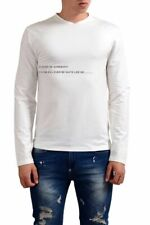 Gianfranco Ferre White Graphic Long Sleeve Stretch Men's T-Shirt Sz XS S XL