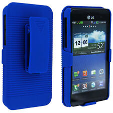 Blue Back with Blue Case Holster Combo for LG Thrill 4G P925 / Optimus 3D P920