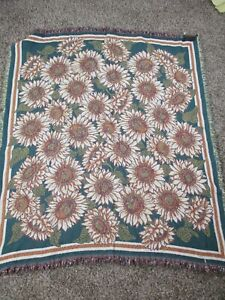 Vintage Sunflower Blanket Floral Pattern Tapestry Woven Throw