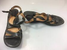 Born Wedge Sandals 10 Womens Black 42 EU Strappy Slingback Leather Shoes