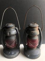 Lot of 2 Vintage Dietz Embury MFG Co. Lantern Air Pilot Red Glass