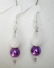 Purple glass pearl and white quartzite with clear bead silver plated 4.5cm drop