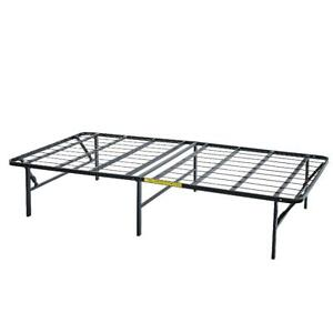 "14"" High Profile Foldable Steel Bed Frame, Powder-coated Steel, Twin"