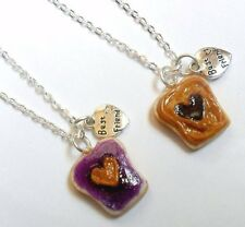 Peanut Butter Jelly Heart Necklace Set, Best Friend's BFF Charm Necklace :)