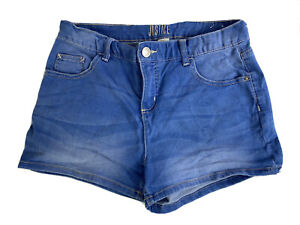 Justice Girls Sz 16 Plus Light Wash Blue Denim Stretch Jean Shorts