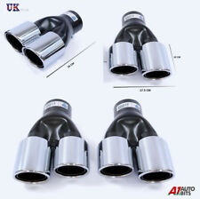 2X SPORT DUAL TWIN EXHAUST MUFFLER PIPE TAIL TIP CHROME FOR BMW E32 E34 E36 E46