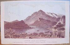 Antique Irish Print UPPER LAKE Lakes of Killarney Mtns Ireland Engraving 3.5x5.5