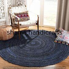 Reversible Round Braided Cotton Circle Rug Floor Handmade 4 Feet Area Rug Carpet