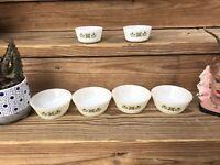 Vintage Fire King Meadow Green Oven Ware Milk Glass Bowl Set 6 Ramekins Anchor