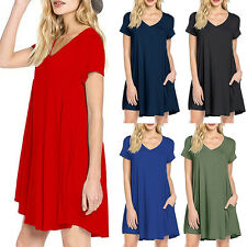 EG_ Women Casual Dress Simple Summer Loose V-Neck T-shirt Dress With Pockets Cle
