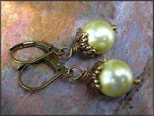 *PI*Victorian charm KIWI LIME Shell PEARL Bronze drop dangle Leverback!
