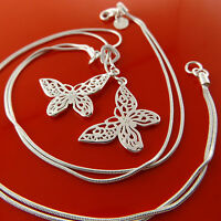 NECKLACE CHAIN GENUINE REAL 925 STERLING SILVER S/F BUTTERFLY PENDANT DESIGN