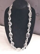 Clear Quartz Freeform Nugget Necklace! 32 Inches Long! Bold And Lovely Piece!