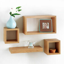 Modern set of 4 Floating Shelves wall Storage Display Unit Cubes - Oak Wood