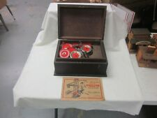 Vintage 1930's A. C. Gilbert Erector Set Wood Box & Parts MOTOR & MANUAL