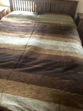 Large Moroccan Hand Woven Striped Sabra Silk / Chenille Throw Blanket Brown
