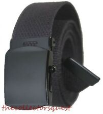 "NEW 1.5"" WIDE GRAY GREY ADJUSTABLE 72"" CANVAS MILITARY WEB BELT BLACK BUCKLE"
