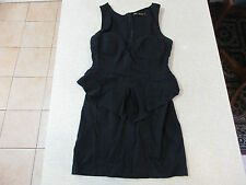 Women's BLOSSOM Size 12 AU Peplum Mini Dress Black Near New Ladies Short Frilly