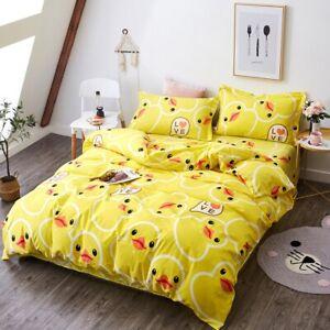 Queen Size Yellow Duck Bed Linen Duvet Cover Bedding Set Pillowcases Sheets Kids
