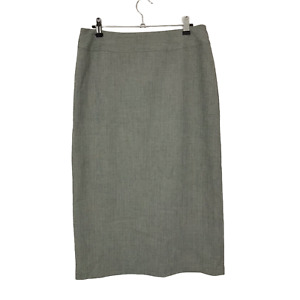 Vintage 80s Bonmarche Size 12 Grey Lined Midi Straight Pencil Skirt Stretch