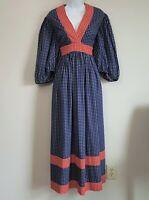 Vintage 70s Aviva California Floral Hippie Boho Prairie Maxi Dress Sz M / L