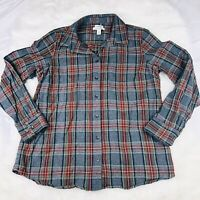 LL Bean Women's Plaid Cotton Flannel Shirt Slightly Fitted Button Up Sz Large