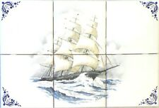 "Ship Flying Cloud Ceramic Tile Mural Back Splash 6 pc 4.25"" x 4.25"" Kiln Fired"