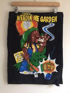 Weedin Me Garden Black Drawstring Bag 100% Cotton