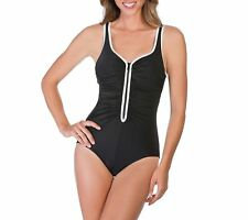 f25e418929840 Womens Black Reebok Zig Zag V Neck One Piece Tummy Control Swimsuit Size 16