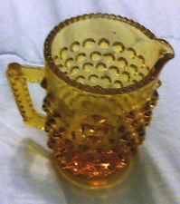 VINTAGE ~ FENTON ~ CARNIVAL GLASS HOBNAIL ORANGE & RED W/YELLOW HANDLE CREAMER