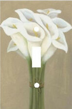 WHITE CALLA LILIES ELEGANT BOUQUET FLOWERS LIGHT SWITCH PLATE COVER
