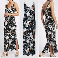 NEW Ex M&S Floral Print Maxi Dress BLACK Summer Holiday Dress Size 6 - 22