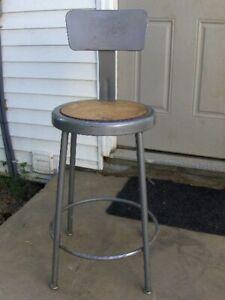 VTG 1940's Krueger Metal Industrial Age Shop Factory Stool Chair Seat Free S/H