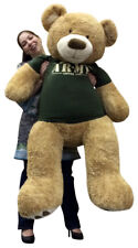 Giant 5 Foot Teddy Bear Wearing Army T-shirt SOMEONE IN THE ARMY LOVES YOU