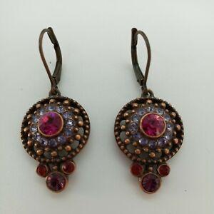 Joan Rivers Fuschia & Blue Stones Leverback Earrings $9.99
