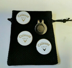 Three White Callaway Golf ball Markers: Bonus magnetic clip & free pouch