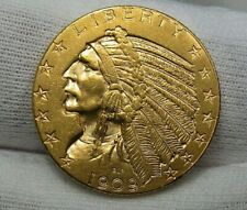 AU 1909-d Indian Head GOLD Half Eagle. Luster