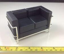 Dollhouse Miniature Living Room Modern Furniture Vinyl Black 2 Seat Sofa 1:12